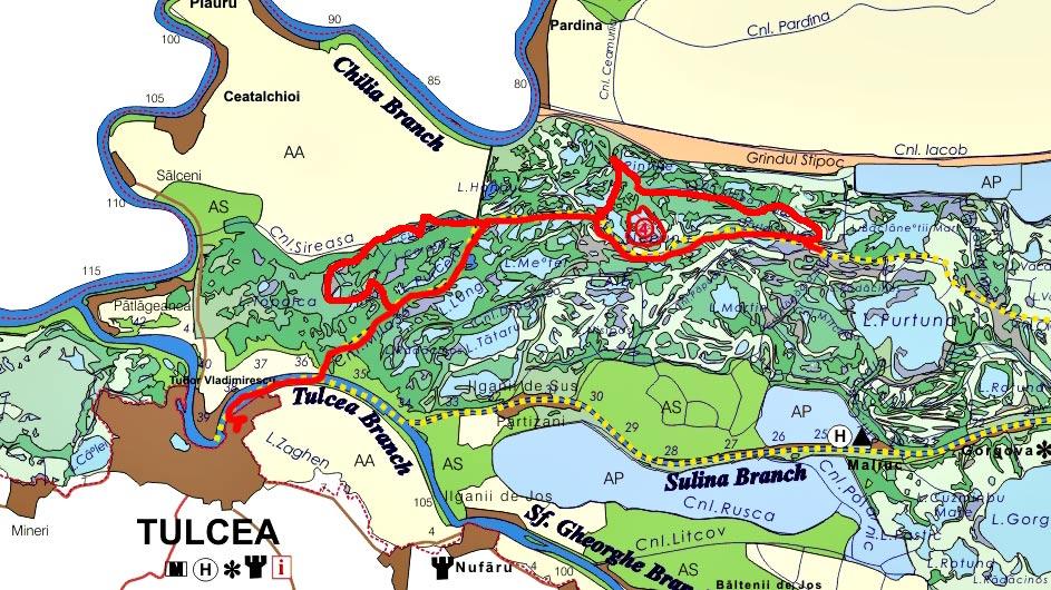 Harta excursie de o zi in Delta Dunarii cu plecare din Tulcea